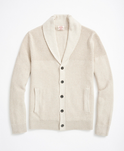 Textured Shawl-Collar Cardigan Sweater