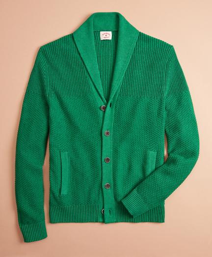Textured Shawl-Collar Cardigan Sweater