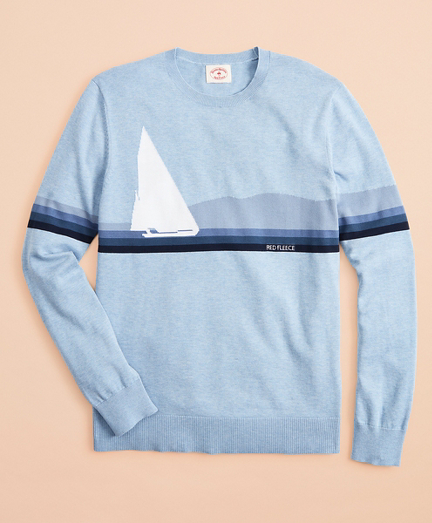 Cotton Sailboat Intarsia Sweater