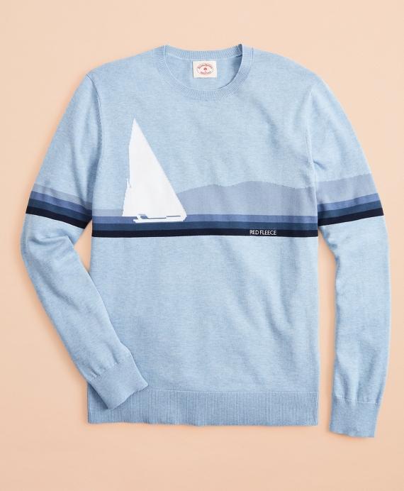Cotton Sailboat Intarsia Sweater Blue