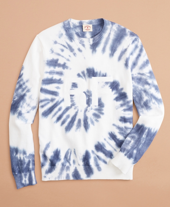 Graphic Tie-Dyed Cotton Sweater Blue