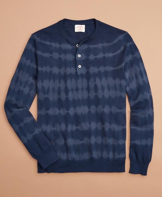 Tie-Dye Stripe Henley Sweater Navy
