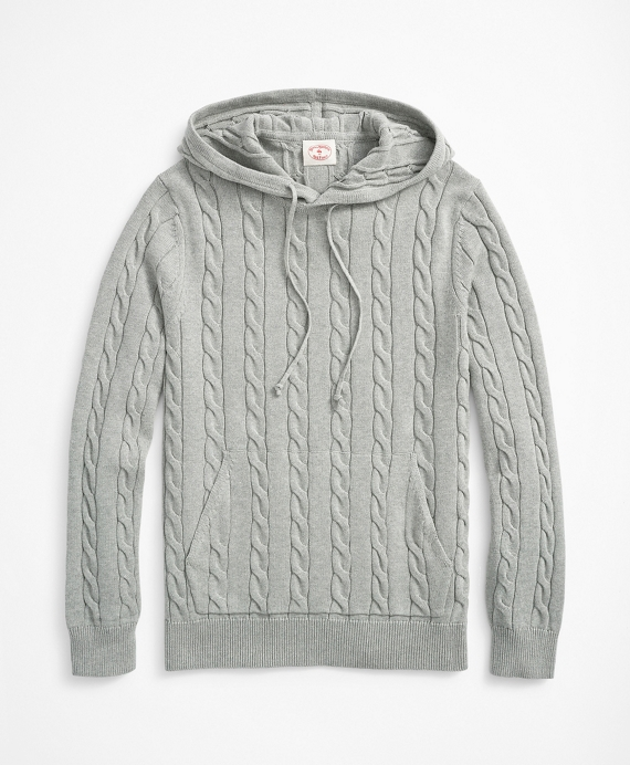 Cable-Knit Hoodie Grey