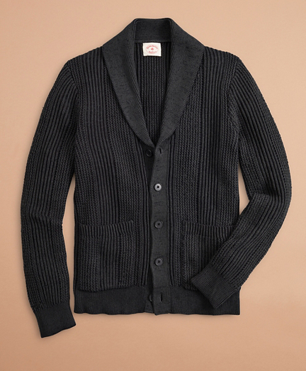 Acid-Wash Shawl-Collar Cardigan