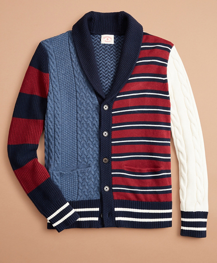 Cotton-Blend Patchwork Cardigan Sweater