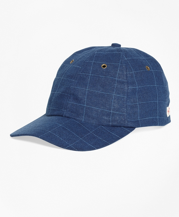 Windowpane Denim Baseball Cap Dark Blue