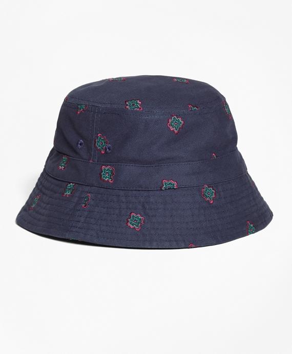 Medallion-Embroidered Bucket Hat Navy