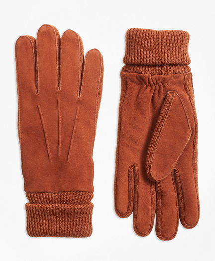 Deerskin Suede Knit-Trimmed Gloves