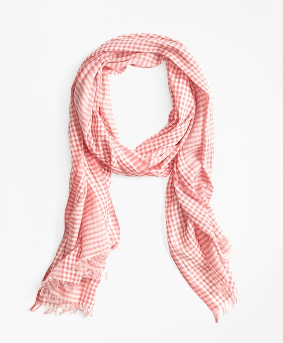 Gingham Cotton Gauze Scarf Red