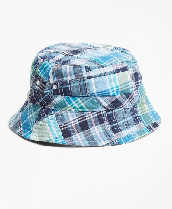 Reversible Patchwork Cotton Bucket Hat Blue