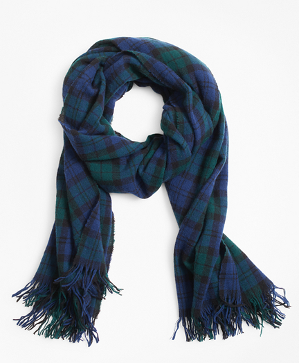 Black Watch Plaid Wool Scarf
