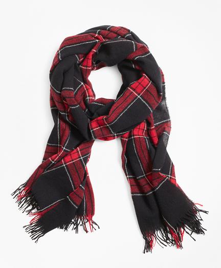 Red Windowpane Wool Scarf 82ade4a86072
