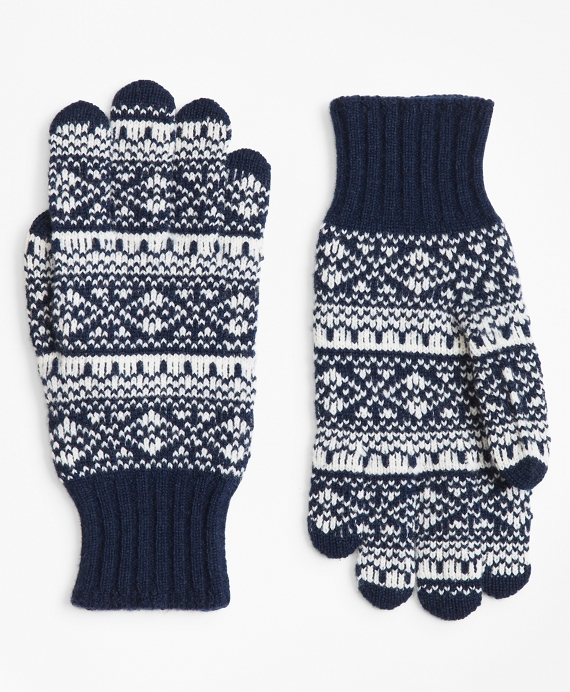 Fair Isle Wool-Blend Gloves Navy-Cream