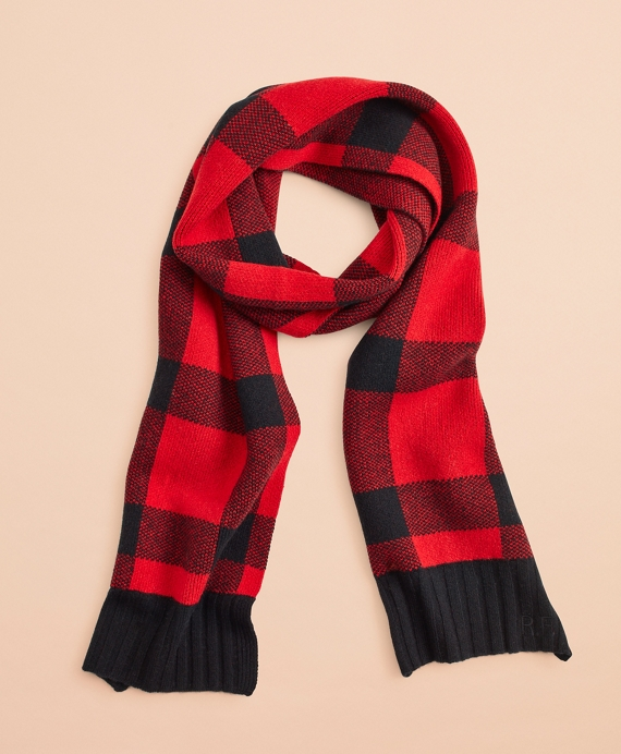Buffalo Plaid Wool-Blend Scarf Red-Black