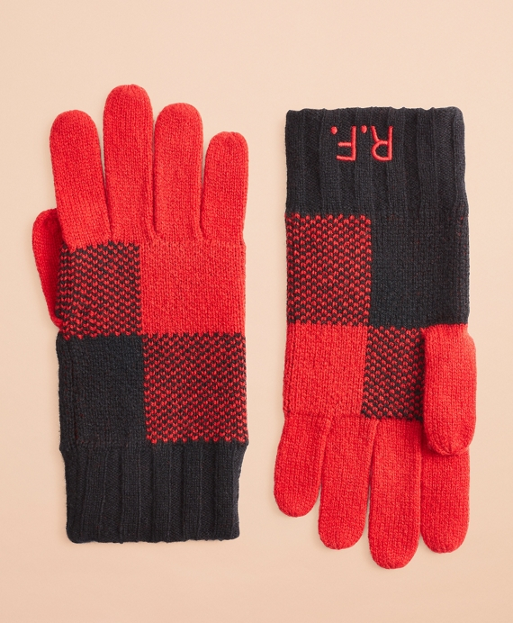 Buffalo Plaid Wool-Blend Gloves Red-Black