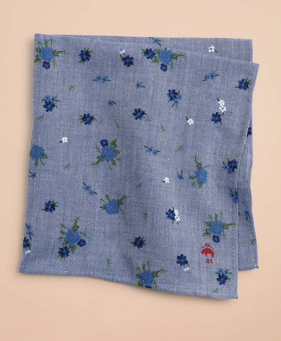 Cotton Ditzy-Print Floral Pocket Square Light Blue