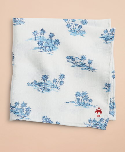 Silk-Blend Hawaii-Print Pocket Square