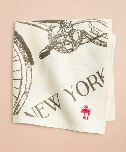 Cotton Bicycle-Print Pocket Square