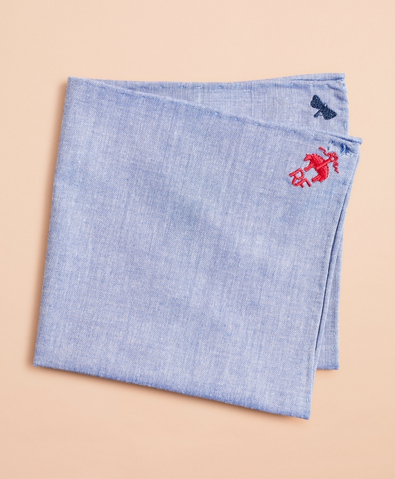 Pocket Square with Tiny Embroidered Initials