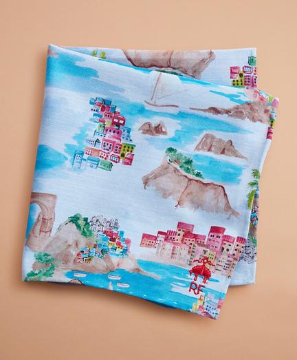 Coastal-Print Chambray Pocket Square