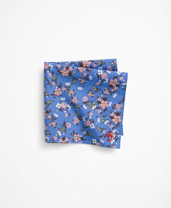 Cotton Geometric Flower Pocket Square Blue
