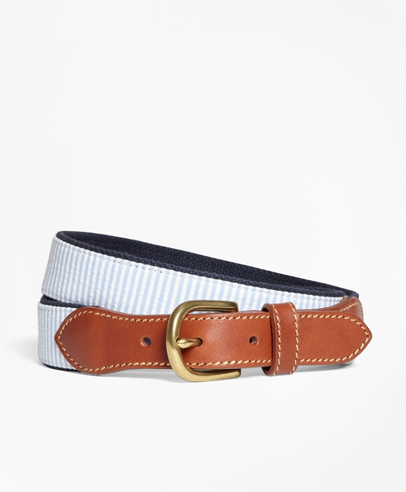 Seersucker Cotton and Leather Belt Blue
