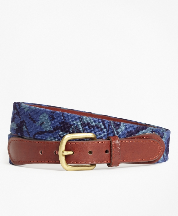 Camouflage Needlepoint Belt Navy
