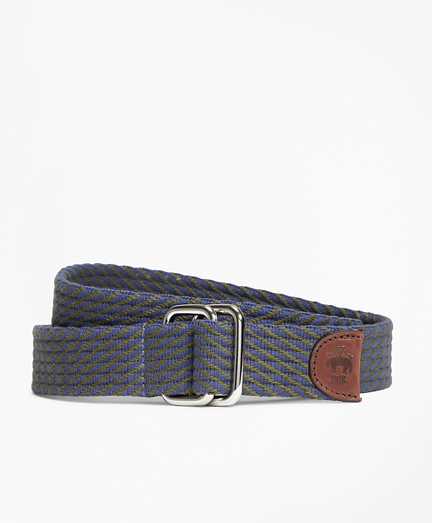 Striped Woven D-Ring Belt