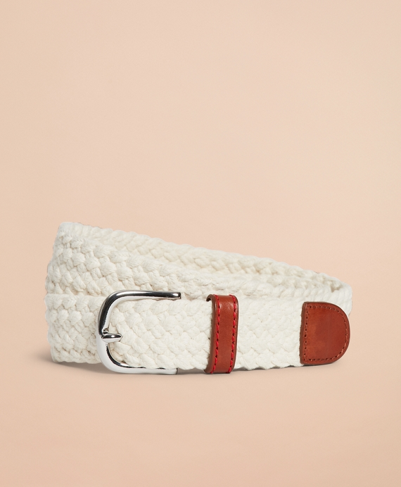 Braided Leather-Trim Belt Oatmeal