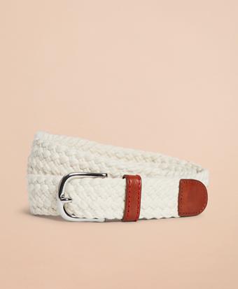 Braided Leather-Trim Belt