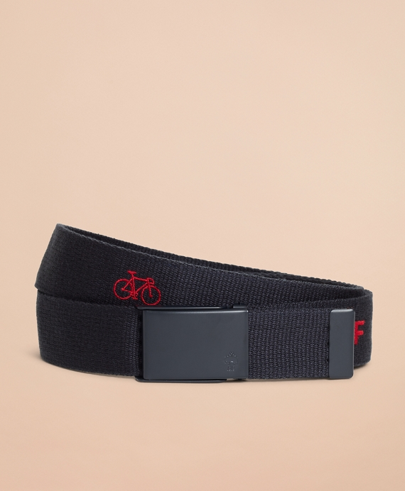 Embroidered Canvas Belt Navy