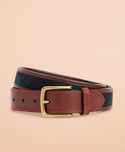 Black Watch Tartan Herringbone Leather Belt
