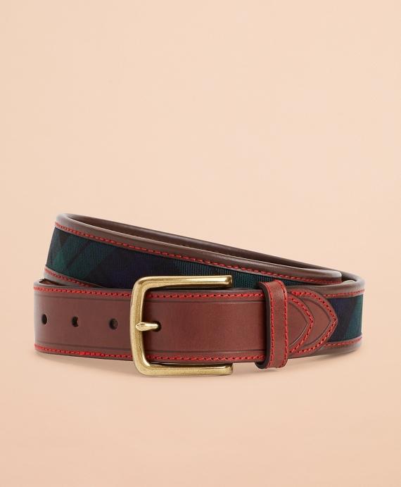 Black Watch Tartan Herringbone Leather Belt Navy