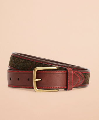 Plaid Herringbone Leather Belt