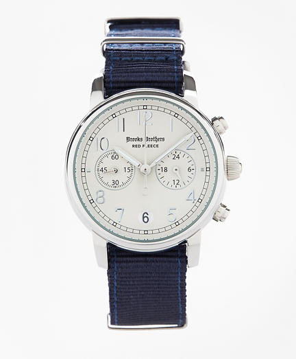 Round White Automatic Chronograph Watch with Nylon Straps