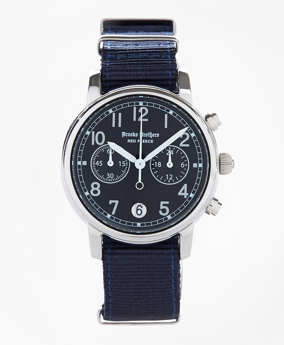 Round Navy Automatic Chronograph Watch with Nylon Straps Navy