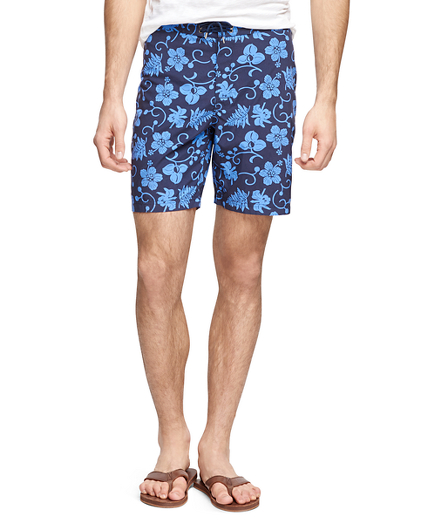 "8"" Hibiscus Print Board Shorts"