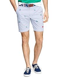 Embroidered Seersucker Shorts