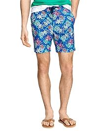 "7"" Pineapple Print Swim Trunks"