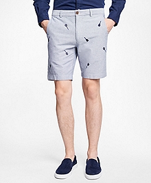 Racquet-Embroidered Cotton Oxford Shorts