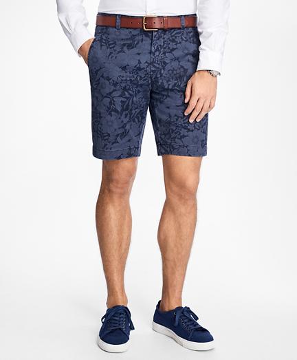 Floral Print Twill Shorts