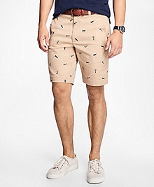 Embroidered Pennant Twill Shorts