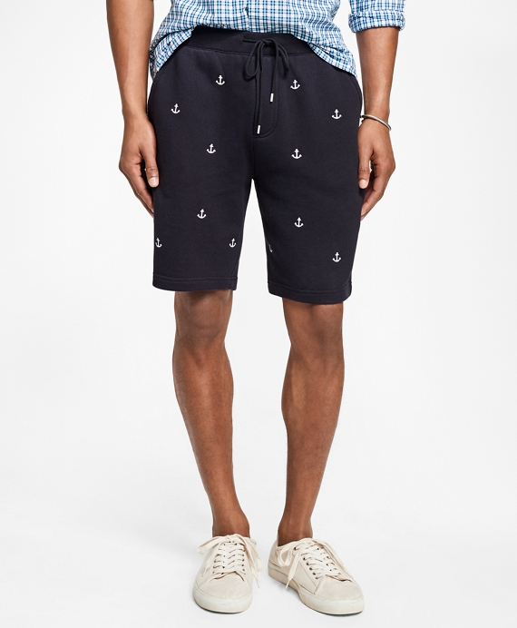 Anchor-Embroidered French Terry Shorts Navy