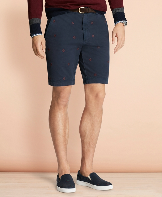 Foulard-Embroidered Stretch Cotton Twill Shorts Navy