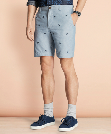 Paisley-Embroidered Chambray Shorts