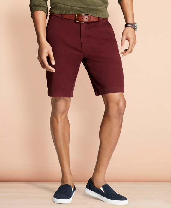Stretch Cotton Twill Shorts Burgundy