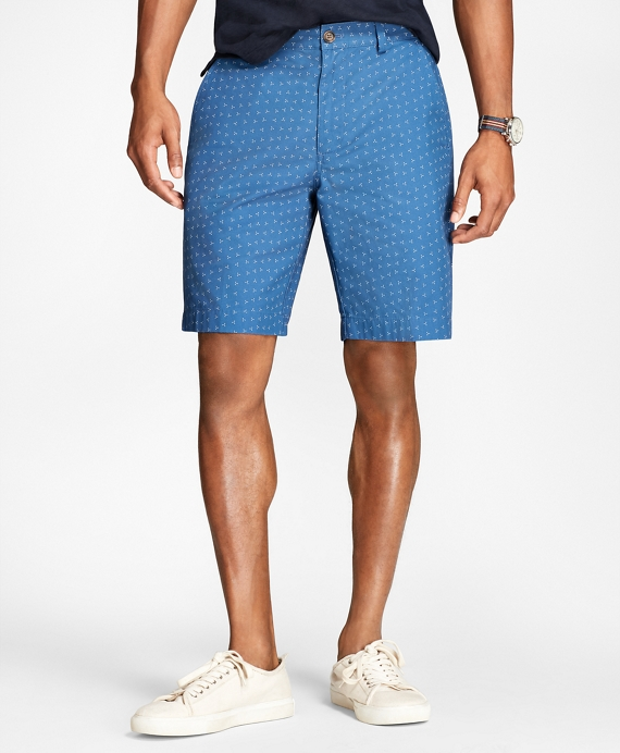 Ditsy-Print Cotton-Twill Shorts Navy