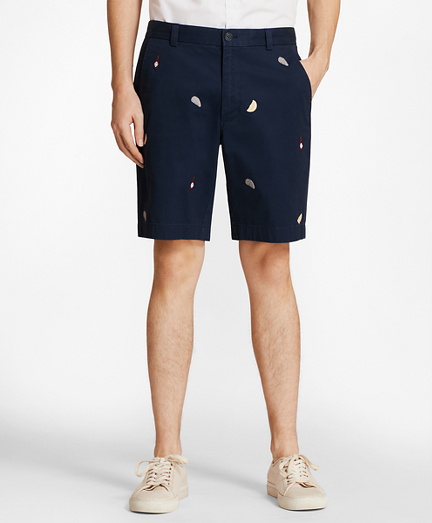 Embroidered Oyster Cotton Twill Shorts