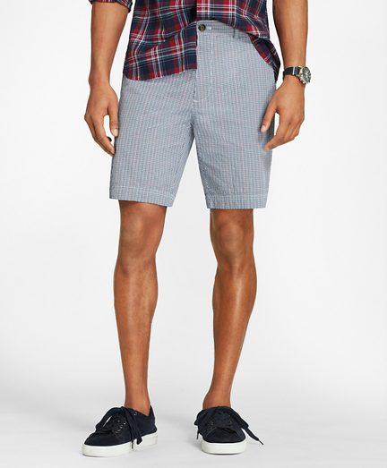 Windowpane Cotton Seersucker Shorts