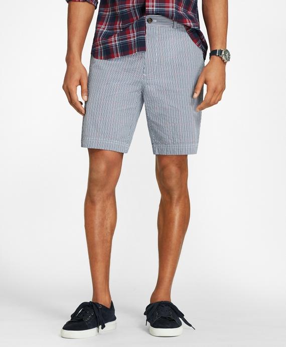 Windowpane Cotton Seersucker Shorts Navy